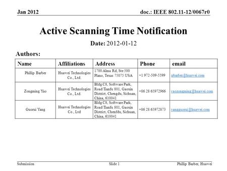 Doc.: IEEE 802.11-12/0067r0 Submission Jan 2012 Phillip Barber, HuaweiSlide 1 Active Scanning Time Notification Date: 2012-01-12 Authors: NameAffiliationsAddressPhoneemail.