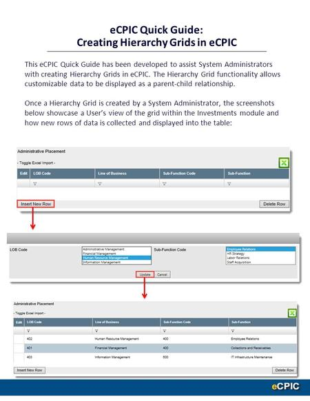 This eCPIC Quick Guide has been developed to assist System Administrators with creating Hierarchy Grids in eCPIC. The Hierarchy Grid functionality allows.