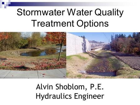 Stormwater Water Quality Treatment Options Alvin Shoblom, P.E. Hydraulics Engineer.