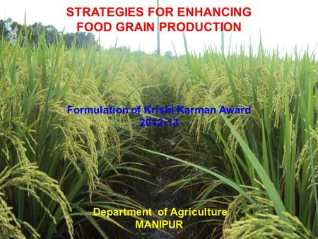 1 1 STRATEGIES FOR ENHANCING FOOD GRAIN PRODUCTION Formulation of Krishi Karman Award 2012-13 Department of Agriculture MANIPUR.