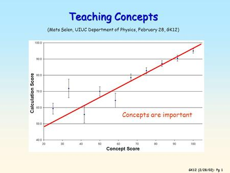 GK12 (2/28/02): Pg 1 Teaching Concepts Teaching Concepts (Mats Selen, UIUC Department of Physics, February 28, GK12) Concepts are important.