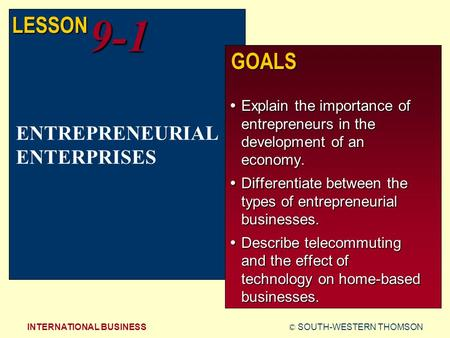 © SOUTH-WESTERN THOMSONINTERNATIONAL BUSINESS LESSON9-1 GOALS  Explain the importance of entrepreneurs in the development of an economy.  Differentiate.
