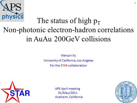 The status of high p T Non-photonic electron-hadron correlations in AuAu 200GeV collisions Wenqin Xu University of California, Los Angeles For the STAR.