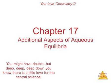 Aqueous Equilibria Chapter 17 Additional Aspects of Aqueous Equilibria You love Chemistry You might have doubts, but deep, deep, deep down you know there.