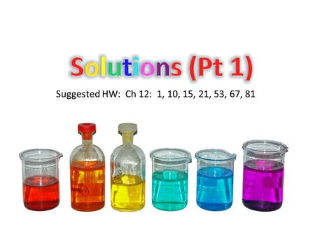 Suggested HW: Ch 12: 1, 10, 15, 21, 53, 67, 81. Aqueous Solutions Much of the chemistry that affects us occurs among substances dissolved in water (proteins,