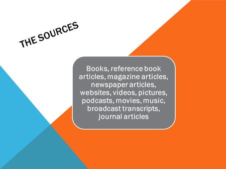 THE SOURCES Books, reference book articles, magazine articles, newspaper articles, websites, videos, pictures, podcasts, movies, music, broadcast transcripts,