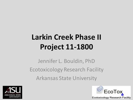 Larkin Creek Phase II Project 11-1800 Jennifer L. Bouldin, PhD Ecotoxicology Research Facility Arkansas State University.