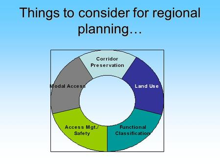 Things to consider for regional planning…. Corridor Preservation Corridor preservation is a strategy to assure that the network of highways, roads, and.