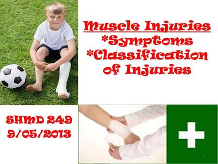 Muscle Injuries *Symptoms *Classification of Injuries SHMD 249 9/05/2013 1.