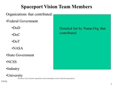 5/9/02 1 Spaceport Vision Team Members Organizations that contributed: Federal Government DoD DoC DoT NASA State Government NCSS Industry University Detailed.