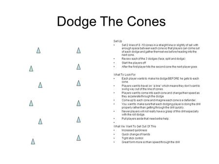 Dodge The Cones Set Up Set 2 lines of 8 -10 cones in a straight line or slightly of set with enough space between each cone so that players can come out.