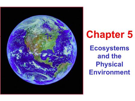 Ecosystems and the Physical Environment Chapter 5.