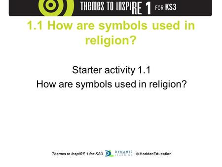 Themes to InspiRE 1 for KS3  Hodder Education 1.1 How are symbols used in religion? Starter activity 1.1 How are symbols used in religion?