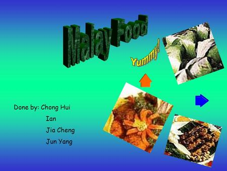 Done by: Chong Hui Ian Jia Cheng Jun Yang. Malaysian Malay Food Info & Pictures on some Malay food Singapore Malay Food Nyonya- a mix of Chinese and Malay.