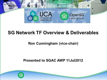 1 May 2010 SG Network TF Overview & Deliverables Ron Cunningham (vice-chair) Presented to SGAC AWP 11Jul2012.