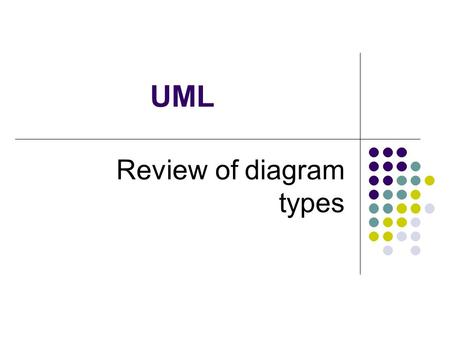 UML Review of diagram types. 2 Unified Modeling Language The Unified Modeling Language™ (UML) was developed jointly by Grady Booch, Ivar Jacobson, and.