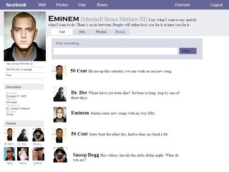 facebook Wall Photos Flair Boxes Eminem Logout