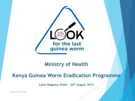 Ministry of Health Kenya Guinea Worm Eradication Programme Laico Regency Hotel - 26 th August 2015 Guinea worm disease1.