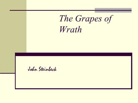 The Grapes of Wrath John Steinbeck. About Steinbeck… Born in Salinas, California in 1902 Finished The Grapes of Wrath in six months; journaled his experience.