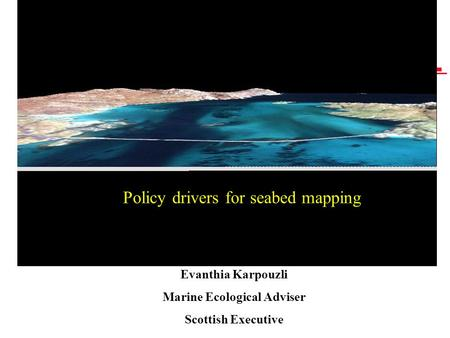 Policy drivers for seabed mapping Evanthia Karpouzli Marine Ecological Adviser Scottish Executive.