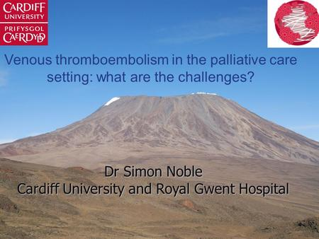 Venous thromboembolism in the palliative care setting: what are the challenges? Dr Simon Noble Cardiff University and Royal Gwent Hospital.