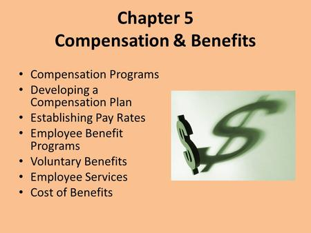 Chapter 5 Compensation & Benefits Compensation Programs Developing a Compensation Plan Establishing Pay Rates Employee Benefit Programs Voluntary Benefits.