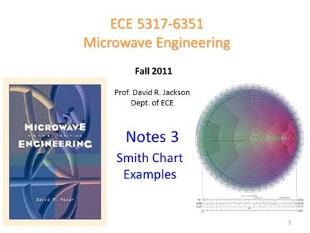 Prof. David R. Jackson Dept. of ECE Notes 3 ECE 5317-6351 Microwave Engineering Fall 2011 Smith Chart Examples 1.