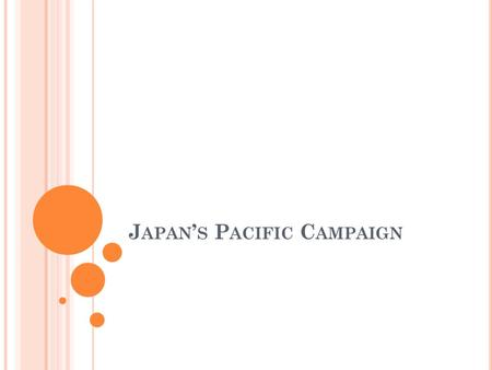 J APAN ' S P ACIFIC C AMPAIGN. Objectives: Chapter 16, Section 2 Explain how Japanese expansionism led to war with the Allies in Asia. Describe Japan's.