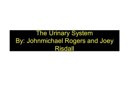 The Urinary System By: Johnmichael Rogers and Joey Risdall.