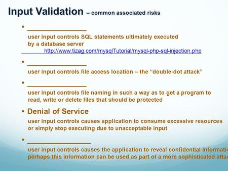 Input Validation – common associated risks  ______________ user input controls SQL statements ultimately executed by a database server