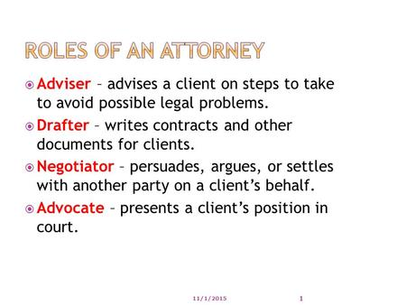  Adviser – advises a client on steps to take to avoid possible legal problems.  Drafter – writes contracts and other documents for clients.  Negotiator.