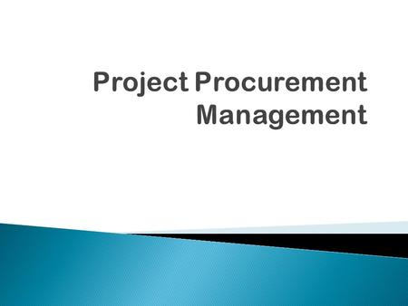 Copyright 2009  Understand the importance of project procurement management and the increasing use of outsourcing for information technology projects.