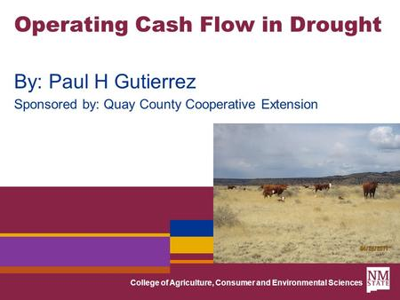 College of Agriculture, Consumer and Environmental Sciences Operating Cash Flow in Drought By: Paul H Gutierrez Sponsored by: Quay County Cooperative Extension.