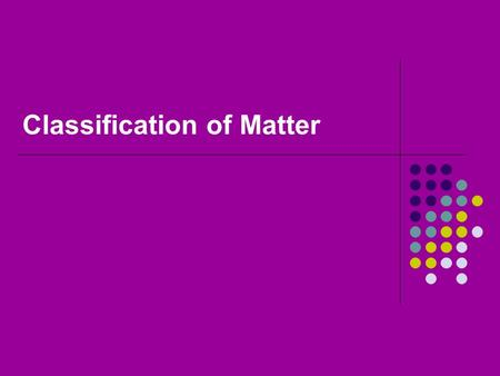 Classification of Matter. Matter Has mass Takes up space Everything is made up of it.