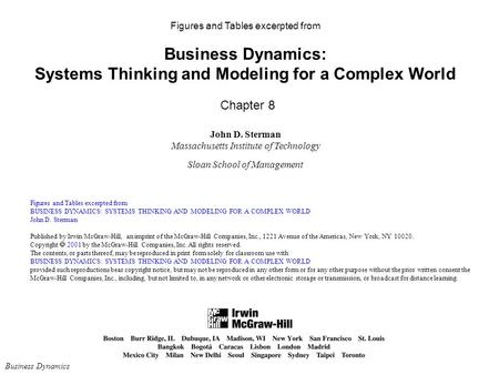 Figures and Tables excerpted from Business Dynamics: Systems Thinking and Modeling for a Complex World Chapter 8 John D. Sterman Massachusetts Institute.