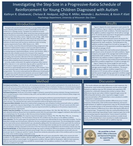 Investigating the Step Size in a Progressive-Ratio Schedule of Reinforcement for Young Children Diagnosed with Autism Kathryn R. Glodowski, Chelsea B.