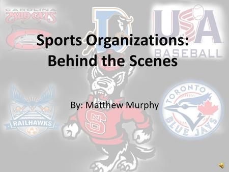 Sports Organizations: Behind the Scenes By: Matthew Murphy.