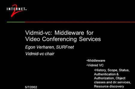 5/7/2002 Vidmid-vc: Middleware for Video Conferencing Services Egon Verharen, SURFnet Vidmid-vc chair Middleware Vidmid VC History, Scope, Status, Authentication.