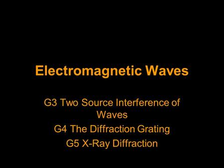 Electromagnetic Waves G3 Two Source Interference of Waves G4 The Diffraction Grating G5 X-Ray Diffraction.