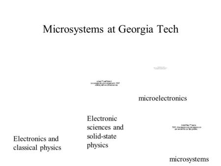 Microsystems at Georgia Tech Electronics and classical physics Electronic sciences and solid-state physics microelectronics microsystems.