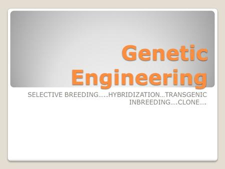 Genetic Engineering SELECTIVE BREEDING…..HYBRIDIZATION…TRANSGENIC INBREEDING….CLONE….
