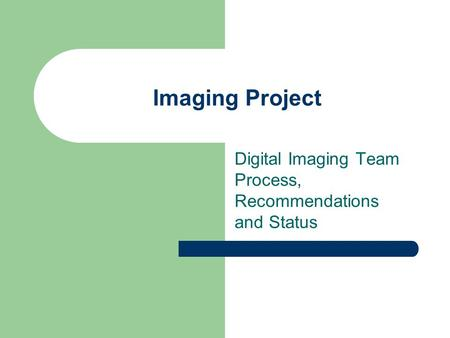 Imaging Project Digital Imaging Team Process, Recommendations and Status.