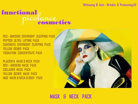 Cosmetics picolance functional MASK & NECK PACK RED - GINSENG OVERNIGHT SLEEPING PACK PEPTIDE ULTRA LIFTING PACK SANSHUYU OVERNIGHT SLEEPING PACK YELLOW.