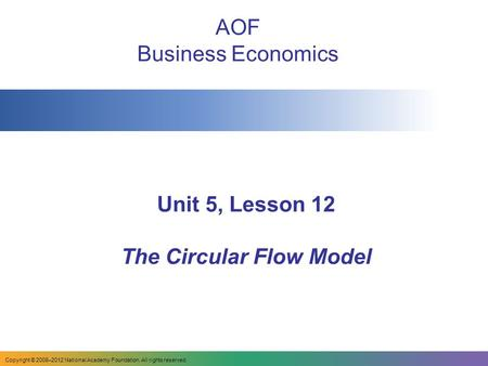 Unit 5, Lesson 12 The Circular Flow Model AOF Business Economics Copyright © 2008–2012 National Academy Foundation. All rights reserved.