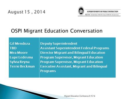 OSPI Migrant Education Conversation