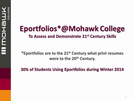 College To Assess and Demonstrate 21 st Century Skills * Eportfolios are to the 21 st Century what print resumes were to the 20 th.