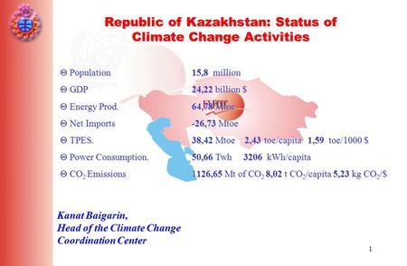 1 Republic of Kazakhstan: Status of Climate Change Activities Kanat Baigarin, Head of the Climate Change Coordination Center  Population 15,8 million.