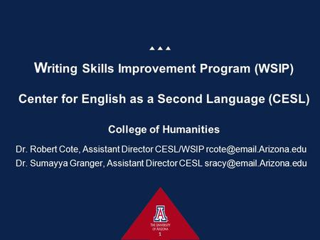 W riting Skills Improvement Program (WSIP) Center for English as a Second Language (CESL) College of Humanities Dr. Robert Cote, Assistant Director CESL/WSIP.