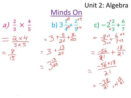 Unit 2: Algebra Minds On. Unit 2: Algebra Lesson 3: The Distributive Property Learning Goal: I can simplify algebraic expressions using distributive property.