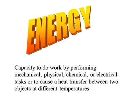Capacity to do work by performing mechanical, physical, chemical, or electrical tasks or to cause a heat transfer between two objects at different temperatures.